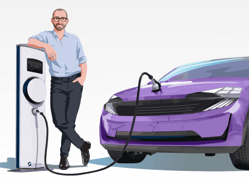 Illustrated EA Geek and purple electric car at charging station