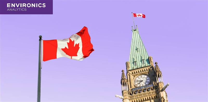 Image of Canadian Parliament with Canada flags and Environics Analytics logo