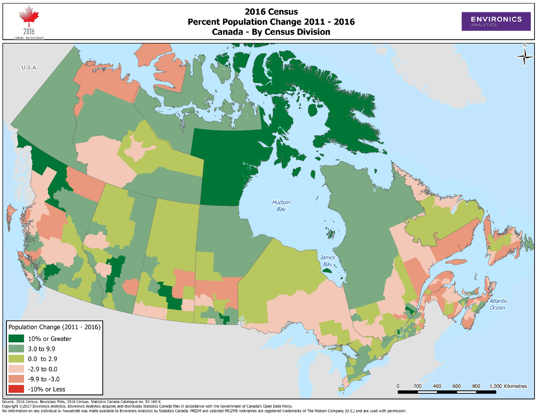 Canada population change 2016 Census