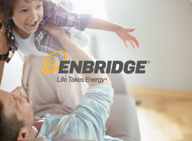 Man and son playing together in energy efficient home