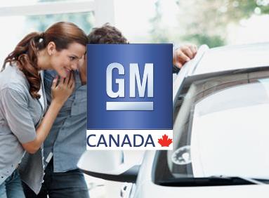 Young couple admiring new General Motors car