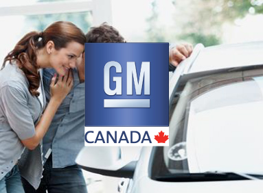 Young couple admiring new General Motors car