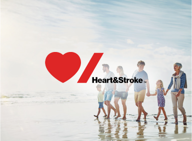 A family walking on the beach with Heart and Stroke logo overlay