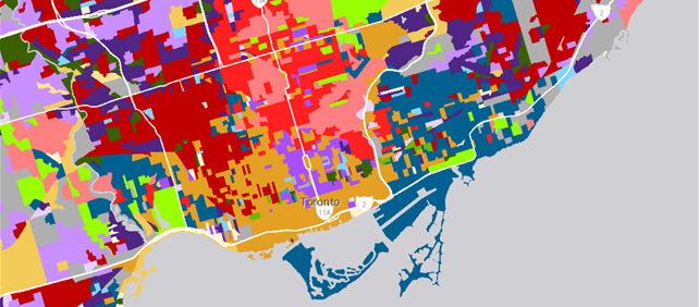 Canadian Segmentation Data Map showing PRIZM5 Spectra data