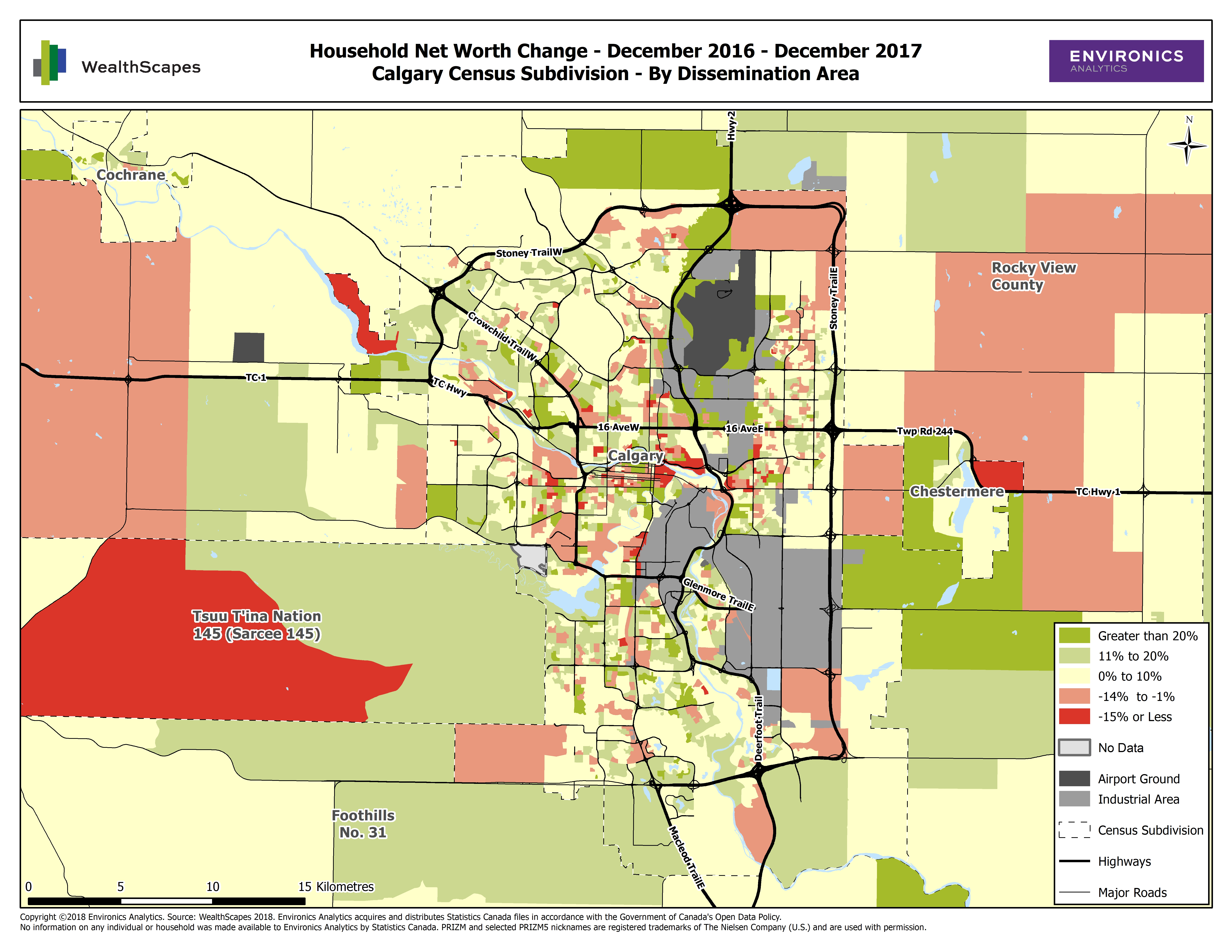 Map - WealthScapes 2018-Calgary Census Subdivision-Household Net Worth Change - December 2016 - December 2017
