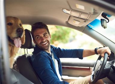 Automotive customer test driving new car