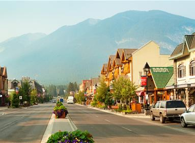 Vibrant downtown Banff retail area