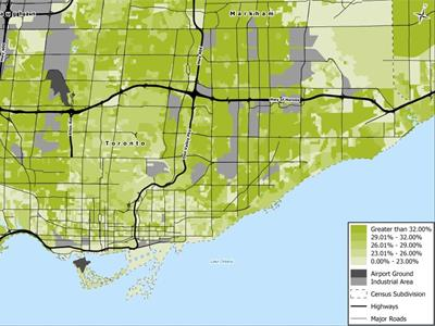 Map showing online sales within Toronto trade area