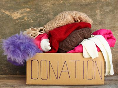 Donations of used clothing for charitable organizations.
