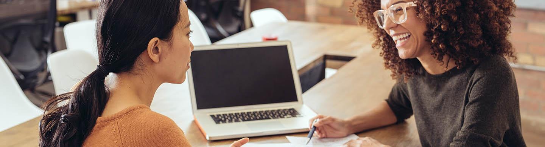 Financial advisor providing client service