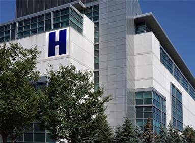 Modern hospital in community