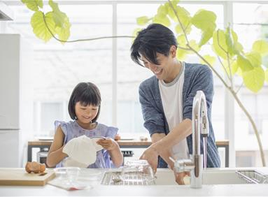 Young family in an energy efficient kitchen
