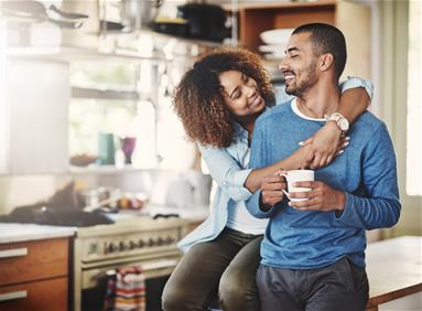 Modern couple in an energy efficient home