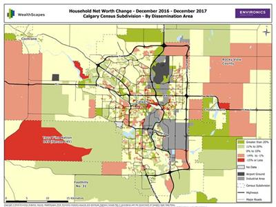 Map of household net worth in Calgary