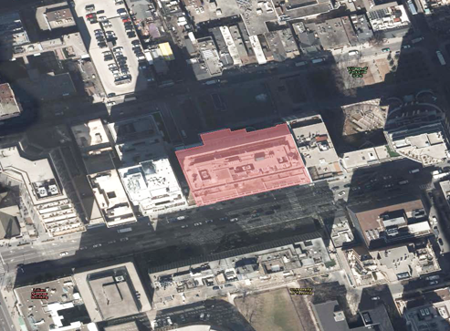 Aerial view of geofence drawn on commercial building