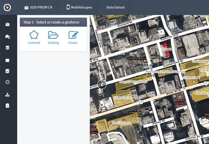 Geofence options within the ENVISION interface
