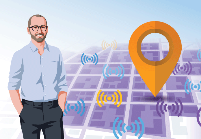 Mobile Movement Data Illustration with EA Geek and Location Symbols