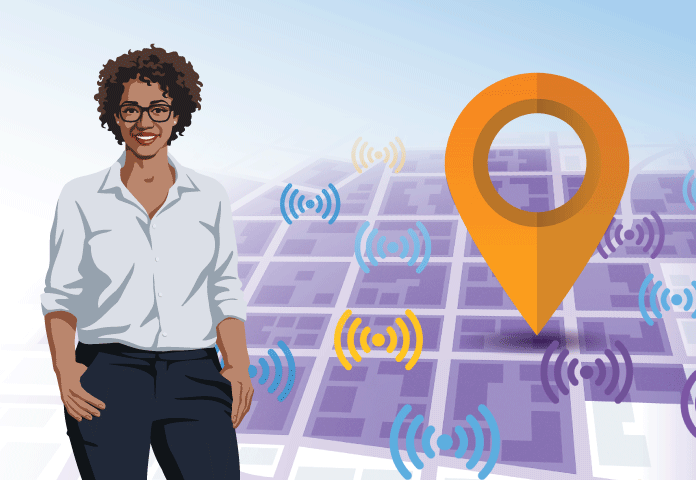 Location and Wireless Symbols with EA Female Geek